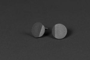 Luna. Oxidized silver earrings